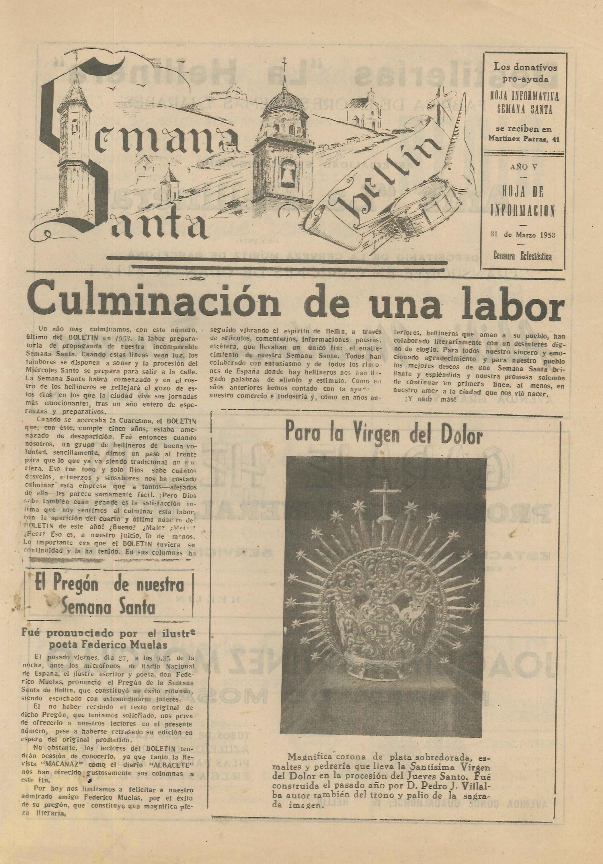 Semana Santa Hellín - Hoja de información - 1953 - n3