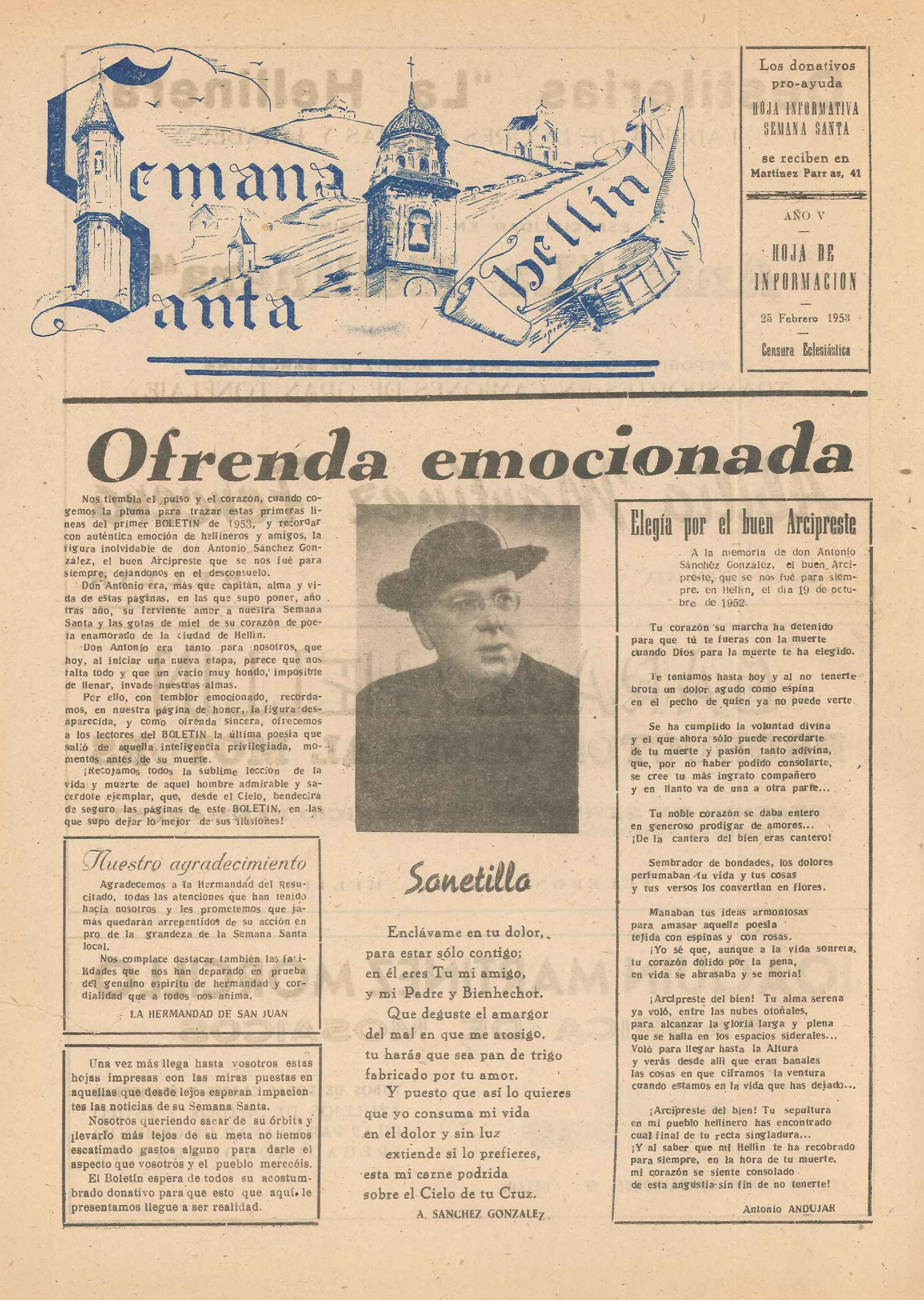 Semana Santa Hellín - Hoja de información - 1953 - n1
