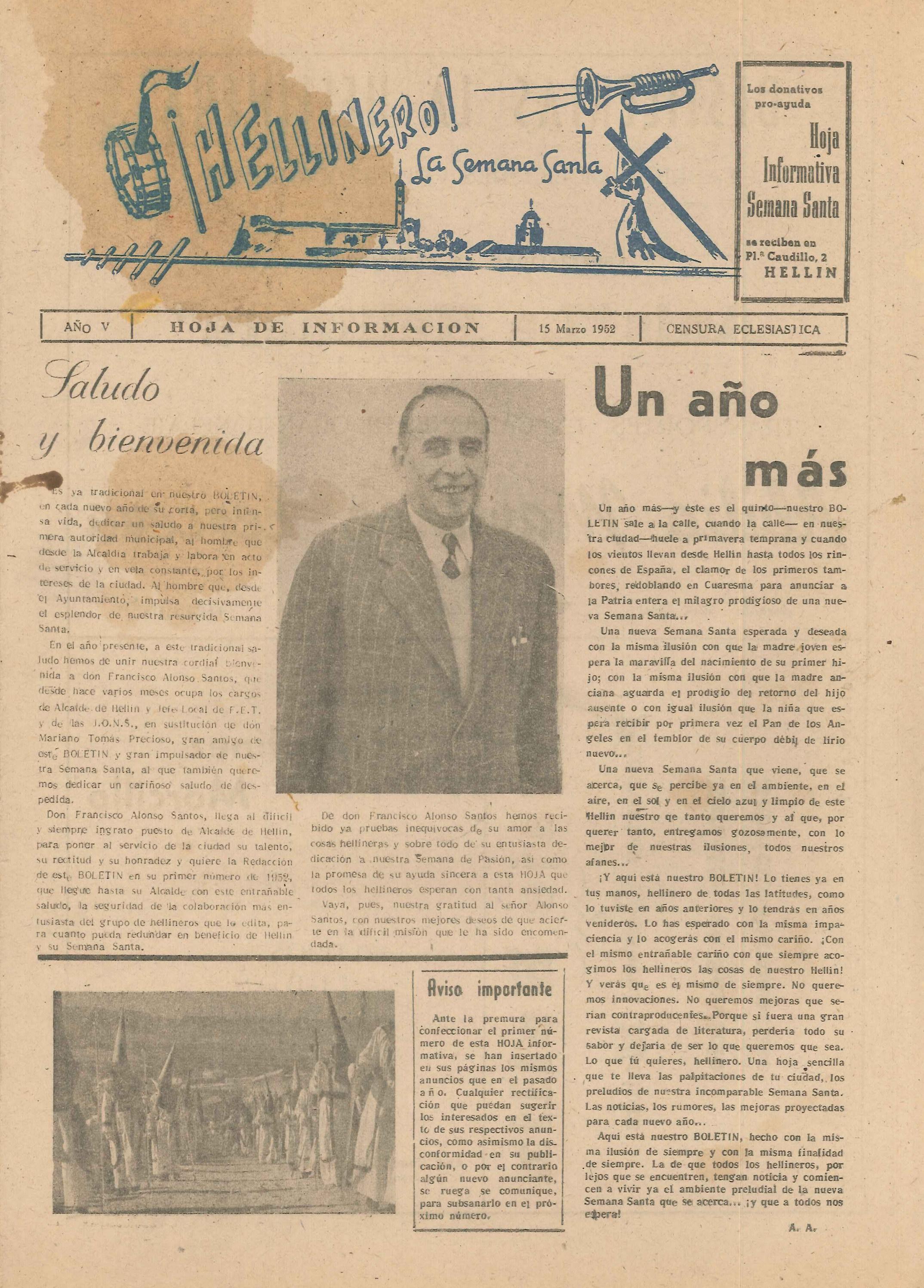 ¡Hellinero! La Semana Santa - Hoja informativa de Semana Santa - 1952 - n1