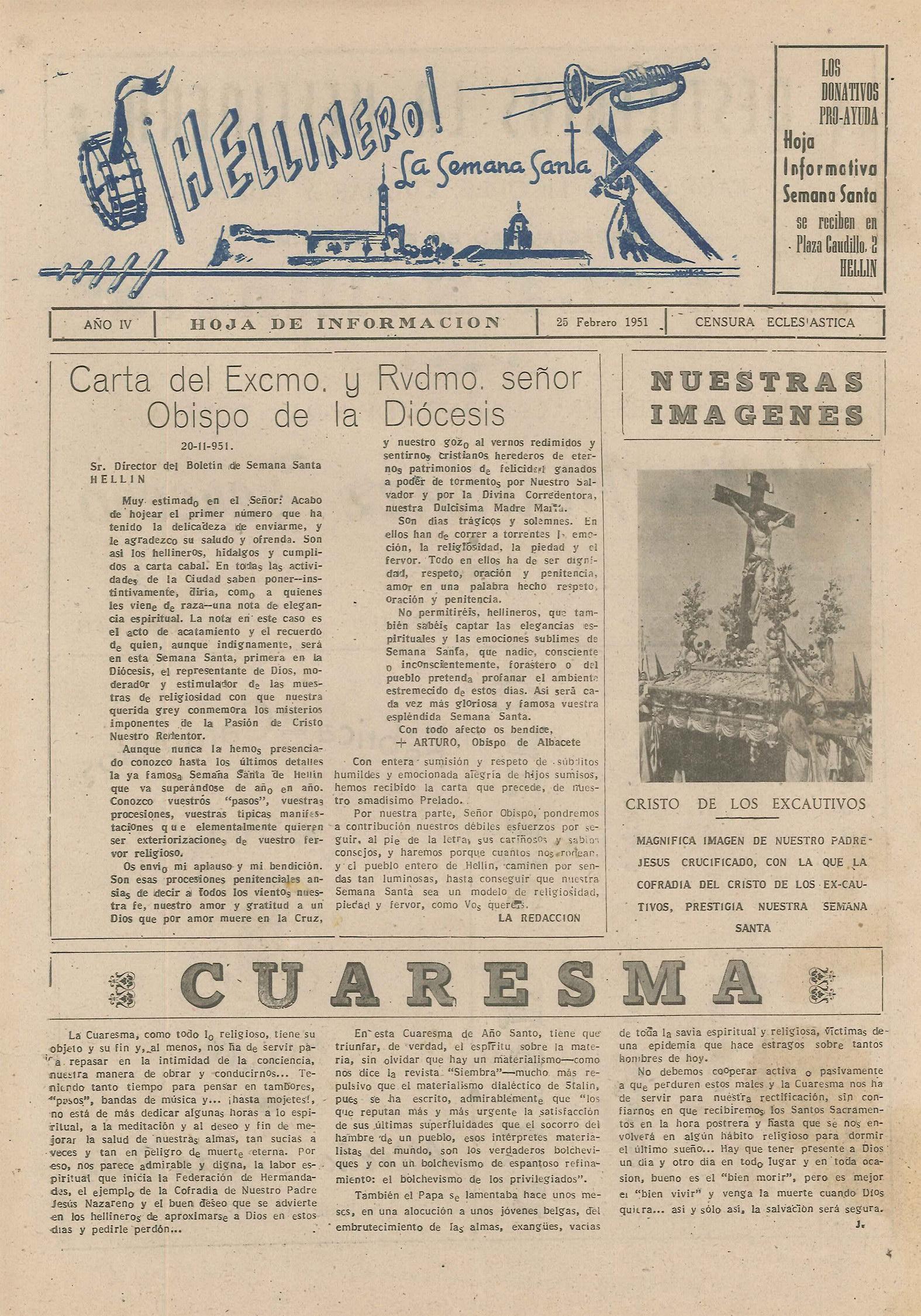 ¡Hellinero! La Semana Santa - Hoja informativa de Semana Santa - 1951 - n2