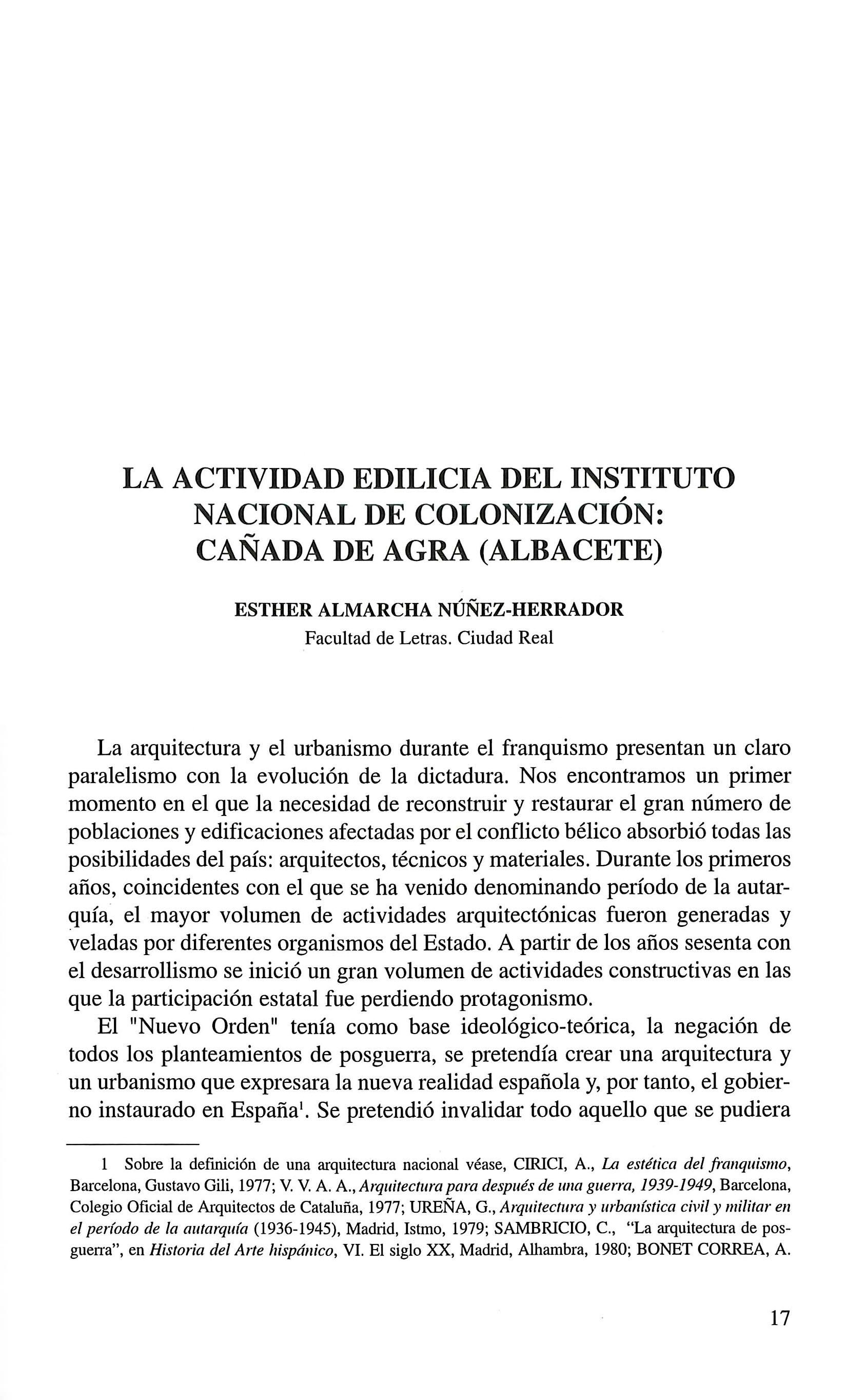 La actividad edilicia del Instituto Nacional de Colonización - Cañada de Agra