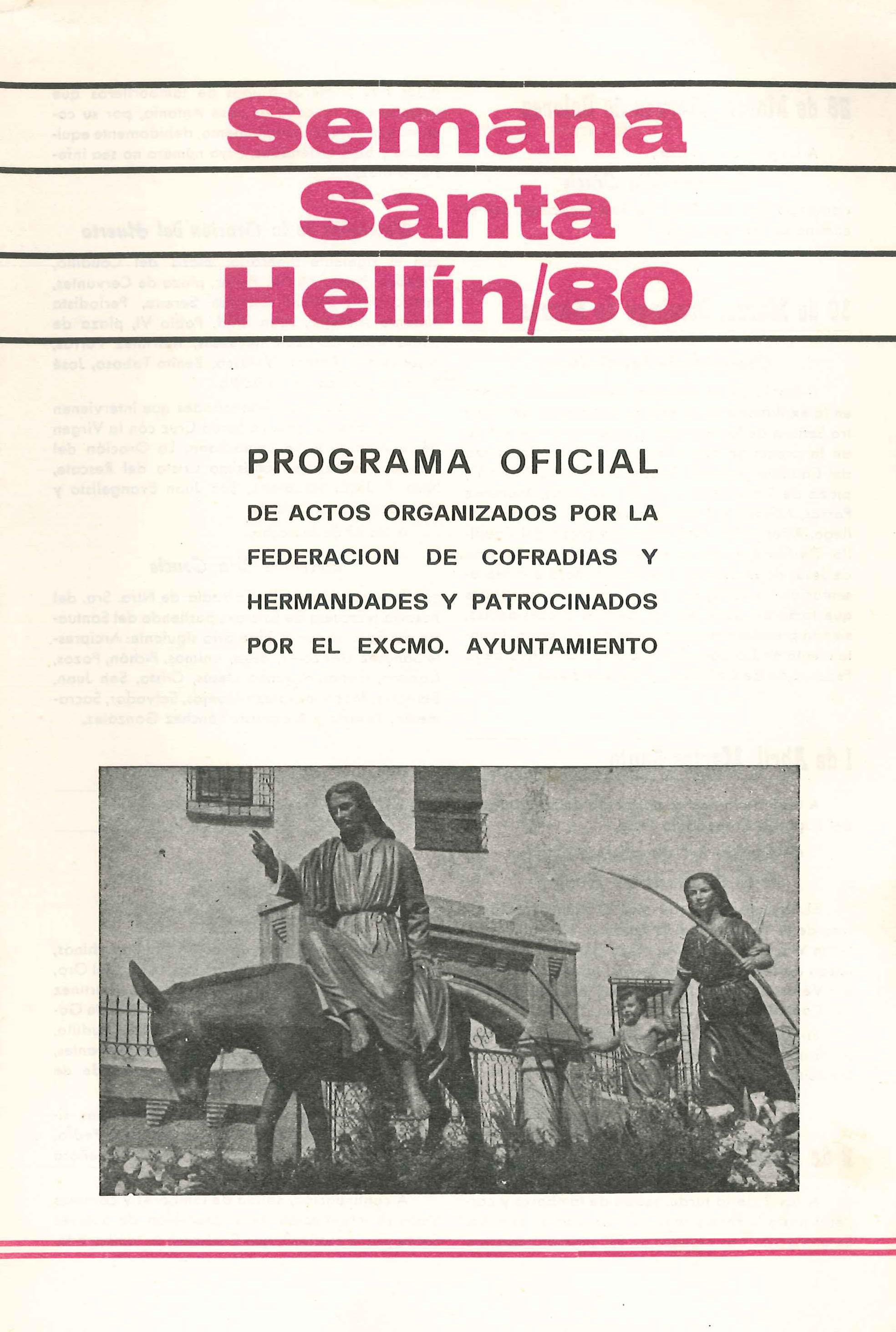 Programa de Actos de Semana Santa de Hellín - 1980