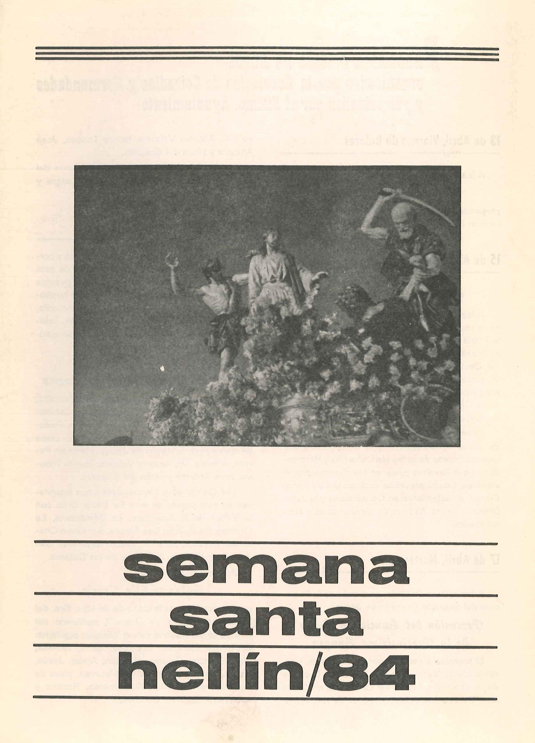 Programa de Actos de Semana Santa de Hellín - 1984