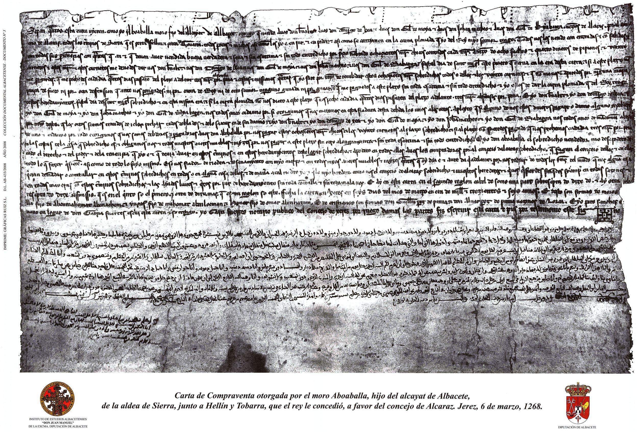 Carta de compraventa otorgada por el moro Aboaballa, de la aldea de Sierra en 1268